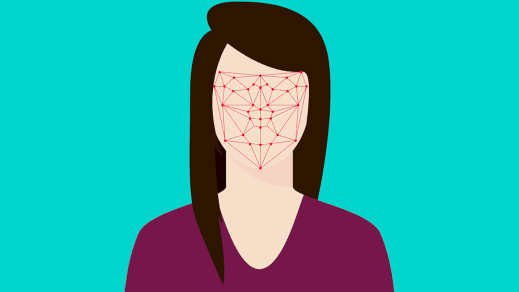 graphic of avatar and facial recognition software